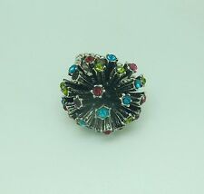 color sparkly stones-silver- Fashion Ring stretch flower-multi