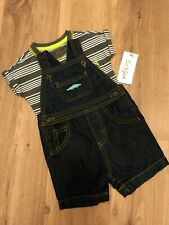 Just One You by Carter's 0-3M Denim Romper Gray Striped Shirt Cat Jack Baby Boy