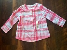 Size 24m pink NWT PLAID LIGHTWEIGHT BUTTON UP top by JUMPING BEANS