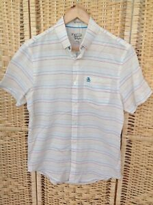 Original PENGUIN Mens Heritage Slim Fit Cream Shirt Size S Small Multi Stripes