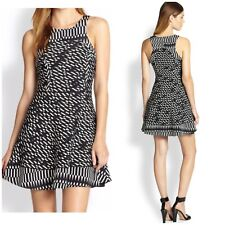 $352 Parker Sz M Black White Contrast Silk Monochrome Print Psychedelic Dress