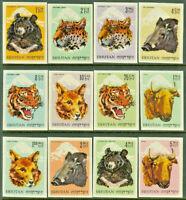 Bhutan Imperforate Wild Animals Mint NH Complete 1966 Set of 12 SCOTT #56 - 67