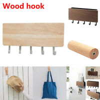 Solid Wooden Wall Hook Mounted Hallway Clothes Scarf Coat Hat Bag Storage Hanger