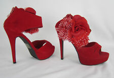 Womens Red Velvet Platform Stiletto Ankle Strap Sandal Lady Luxe 6.5M Floral