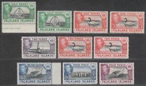 Falkland Islands 1938-50 King George VI Part Set to 4d Mint