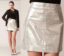 $495 Robert Rodriguez Metallic Gold Leather Short Pencil Skirt 10