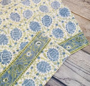 """Pottery Barn Table Runner Floral Blue Green Decorative Edge 16""""x90"""" EXCELLENT"""