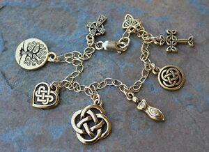 Gold Celtic Symbols Charm Bracelet - Knot, Cross, Tree of Life, Goddess, Heart