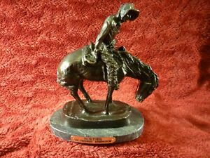 "Frederic Remington,  ""Norther"" Bronze 11"" Statue Sculpture Marble Base excellent"