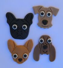 12 edible PUPPY DOG faces cupcake topper CAKE DECORATION chihuahua BULLDOG cake