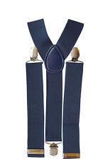 35mm Mens Wide Braces in Navy Suspenders Clip on Elastic Trousers Jeans