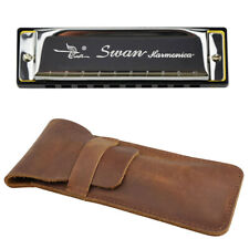 Swan Harmonica 10 Holes Key of C Silver & Leather Harmonica Bag Case Sack New