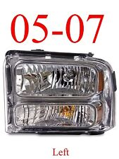 05 07 Super Duty Left Chrome Head Light Assembly, F250 F350 Excursion FO2502217