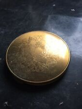 Gold Coloured Powder Compact With Gold Flower Design