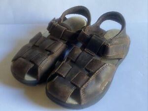 Stride Rite Boys Angler Dark Brown Fisherman Leather Sandals Toddler Sz 10.5 M