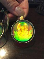 "6 Vintage Glass Hologram Necklace Pendant ""Mary"""