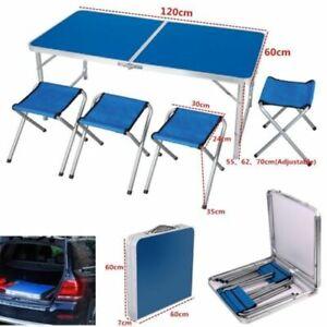 120cm Campingtisch Klapptisch Set mit 4 Klappstühle Aluminium Campingmöbel Blau