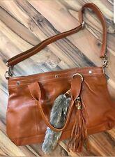 Cuore & Pelle Amelia Rust Leather Satchel Handbag Purse New Fur Tassel New