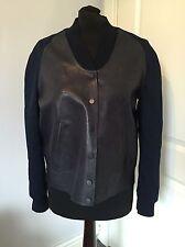 Women's All Saints Ink Blue Navy Lamb Leather & Denim WINSOR Bomber Jacket UK 8