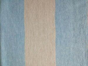 Designers Guild Brera Largo Large Stripe Linen Fabric Pale Blue/Oatmeal