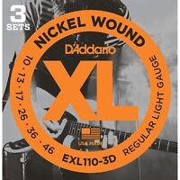 D'Addario EXL110-3D Regular Light Gauge Electric Guitar Strings 10-46, 3 PACK