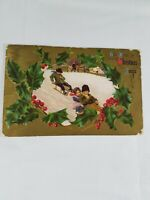 Vintage CHRISTMAS GREETINGS Sleds & Holly Postcard From Edd & Wife 1c Stamp 1909