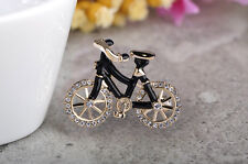 18K GOLD PLATED BLACK ENAMEL AND GENUINE AUSTRIAN CRYSTAL BICYCLE BROOCH.
