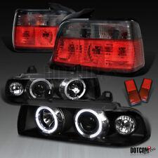 1992-1998 BMW E36 318i 325i 4Dr Black Halo Projector Headlights+Smoke Tail Lamps
