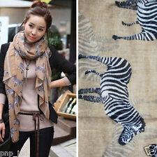 Fashion Beige Zebra Logo Animal Print Women Light Long Sheer Scarf Wrap Shawl OS