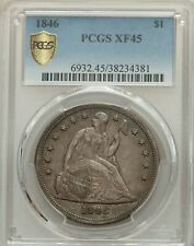 1846 Seated Liberty Dollar $1 PCGS XF45 coin