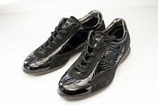 ECCO 7 7.5 Black Patent Leather Sneakers Women's Shoes EU 38