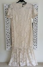 Zara Woman Ivory Lace Midi Dress, Size M UK 10-12 New