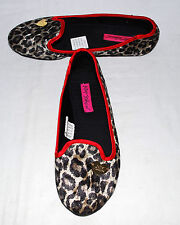 Betsey Johnson Faux Leopard Fur w/ Red Satin Trim Slip On Flats Size 5/6 M NWOB