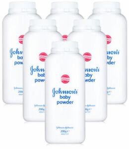 Pack of 6 x Johnsons Baby Powder 200g Talc Talcum Powder Bottle Skin Care Mild