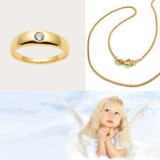 Kinder Baby Taufe Zirkonia weiß Taufring Echt Gold 585 14 Kt mit 925/- Kette Vg