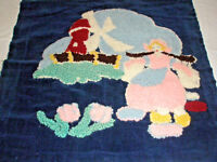 Vintage Pillow Fabric Needlework Unfinished Piece Dutch Girl  Windmill Flowers