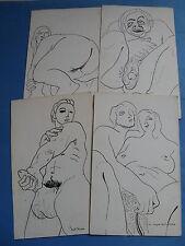 SUITE DE 4 DESSINS ORIGINAUX EROTIQUES 1930-40 STYLE JEAN BOULLET HOMOSEXUALITE