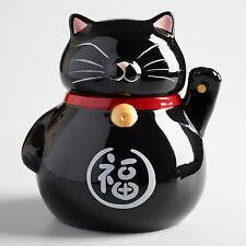 Maneki-Neko Beckoning Black Cat Ceramic Cookie Jar Japanese Talisman Lucky