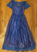 Vintage Blue Lace Dress With Lace Overlay Purple Size 7/8 Unbranded