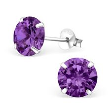 Brand new Sterling silver 8mm round purple cubic zirconia studs