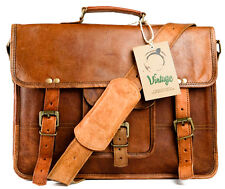 New Vintage Leather Messenger Bag Leather Satchel Vintage Leather Laptop Bag 15""