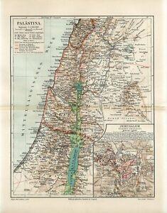 1895 PALESTINE ISRAEL JERUSALEM CITY SYRIA DAMASCUS Antique Map