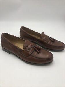 Allen Edmonds Maxfield Brown Leather Dress Tassel Loafers Size 14C