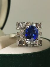 2.18ct Royal Blue Sapphire & Diamond Ring in 18K White Gold. Valued at $18,000.