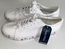 NEW! NAUTICA WOMEN'S CALERA 4 WHITE FLORAL LEATHER SNEAKERS SHOES 7 37 / 38 SALE