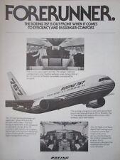 6/1982 PUB BOEING 767 AIRLINER PASSENGER HOTESSE COCKPIT ORIGINAL AD