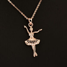 2017 Elegant Rhinestone Ballet Dancing Girl Pendant Necklace For Women