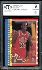1987-88 Fleer Stickers #2 Michael Jordan Card BGS BCCG 9 Near Mint+