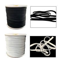 7mm Elástico Plano Cuerda Negro Blanco 150m Suave Tejido Costura Confección