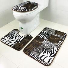 3Pieces Animal Print Flannel Toilet Lid Cover Non Slip Bath Mat Bathroom Rug